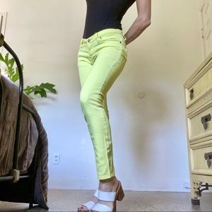 Vintage Y2K Neon Yellow Max Rave Skinny Je…